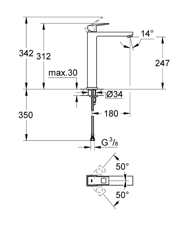 ברז גבוה לכיור מונח תוצרת GROHE גרמניה סדרת יורוקיוב 23406000