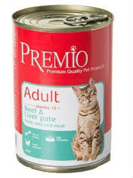 שימורי פרמיו לחתול בקר וכבד 400 גרם - PREMIO PATE CAT BEEF LIVER 400G