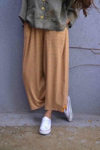 מכנסיים באורך 7/8 מדגם נועה עם פסים בצבע חרדל ואפור