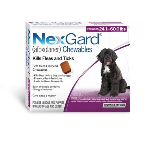 """NexGard חבילת 3 כדורים בטעם עוף נגד פרעושים וקרציות לכלבים במשקל 10-25 ק""""ג"""
