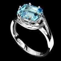 טבעת כסף משובצת טופז כחול RG5546 | תכשיטי כסף 925 | טבעות כסף