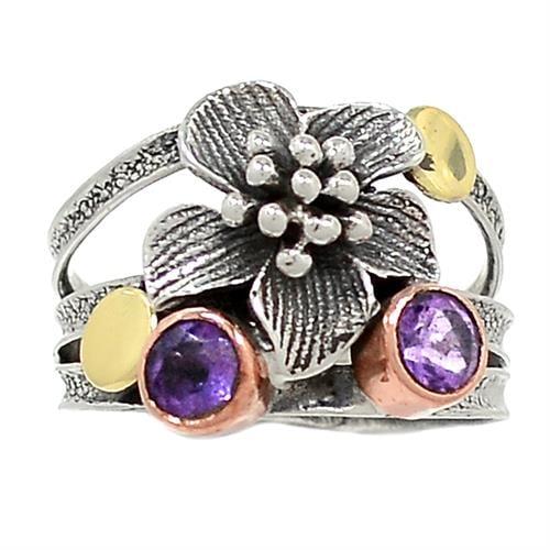 טבעת כסף מעוצבת משובצת אבני אמטיסט  RG5891 | תכשיטי כסף 925 | טבעות כסף