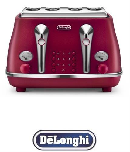 DeLonghi מצנם רטרו 4 פרוסות ICONA דגם CTOE4003.R אדום