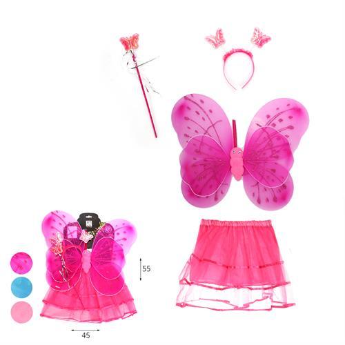סט פרפר מחושים כנפיים כפול+חצאית+שרביט+קשת