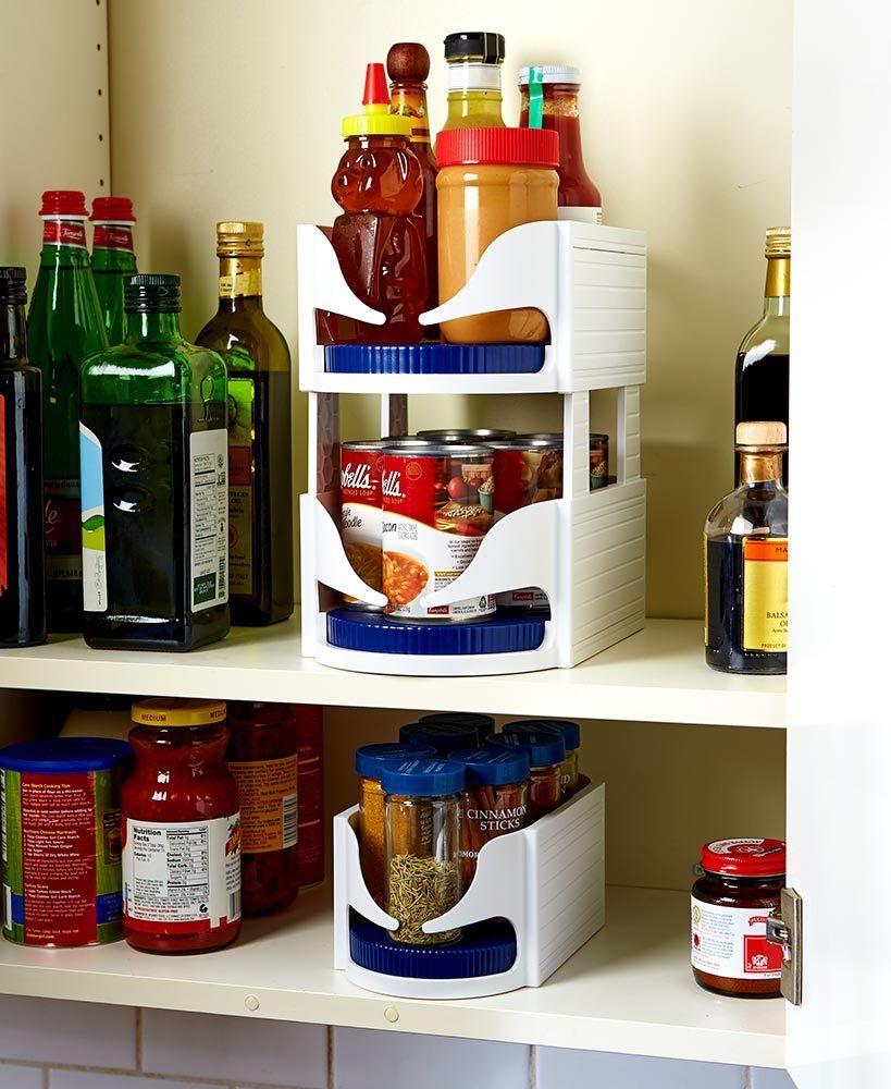 מתקן לארגון וסדר המוצרים בארון עם גלגלת לנוחיות