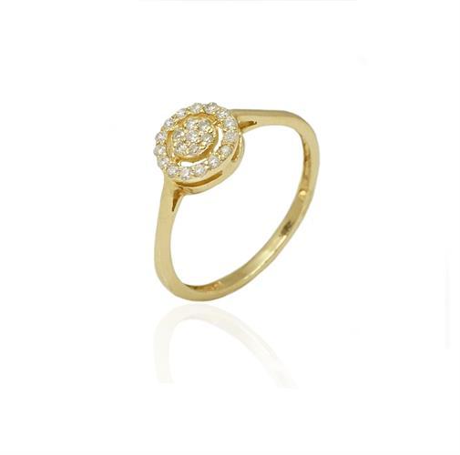 טבעת זהב משובצת מעגלי יהלומים | טבעת מעוצבת | טבעת אירוסין משובצת