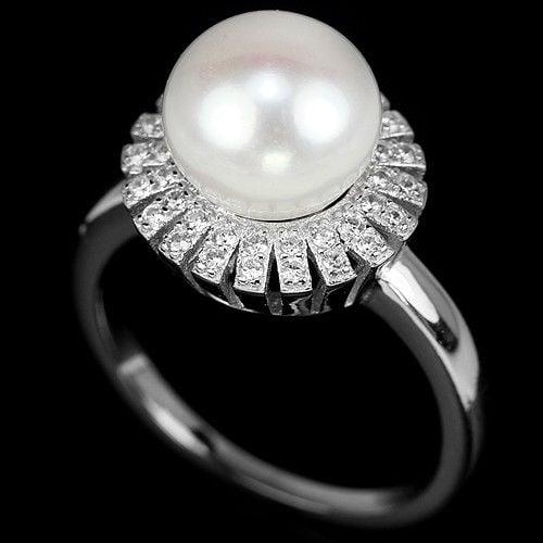 טבעת מכסף משובצת פנינה לבנה 9MM וזרקונים RG5527 | תכשיטי כסף 925 | טבעות עם פנינה