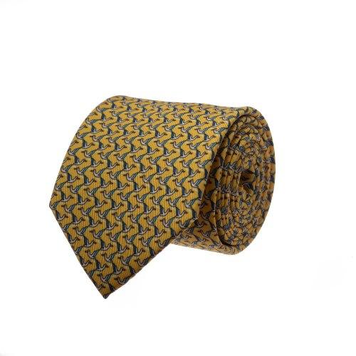 עניבה דגם ציפורים צהוב