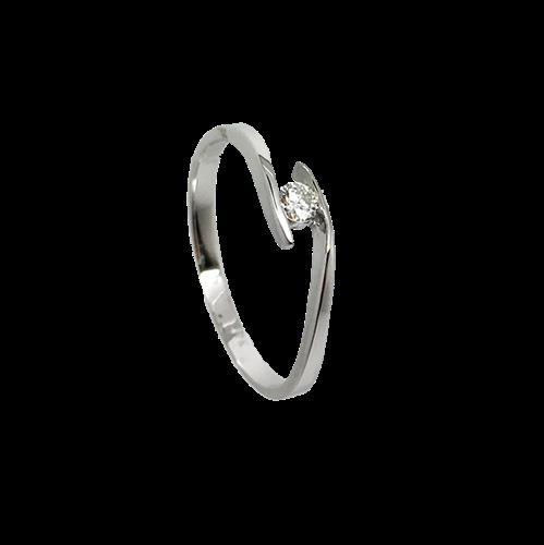 טבעת אירוסין זהב לבן 14K יהלום מרכזי OP06160051508
