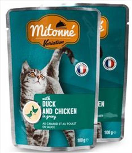 פאוץ' לחתול מיטונה ברווז ועוף ברוטב MITONNE 100 גרם