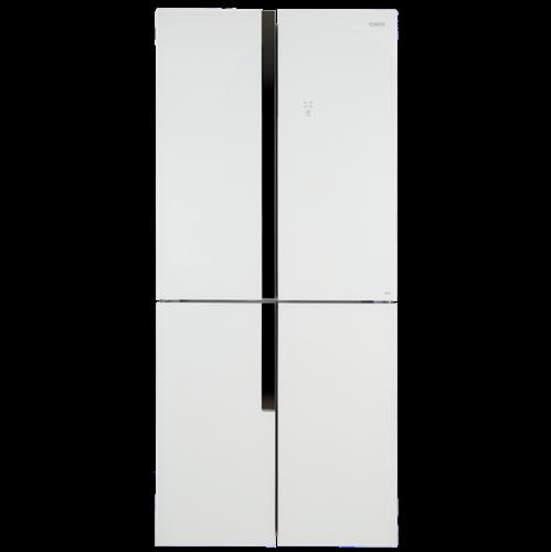 מקרר 4 דלתות TELSA צבע : נירוסטה / זכוכית שחורה / זכוכית לבנה