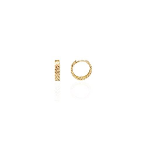 """עגילי חישוק זהב חריטת לייזר קטנים 1.2 ס""""מ - 3.5 ממ עובי"""