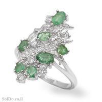 טבעת מכסף משובצת אבני אמרלד וזרקונים RG8715 | תכשיטי כסף 925 | טבעות כסף