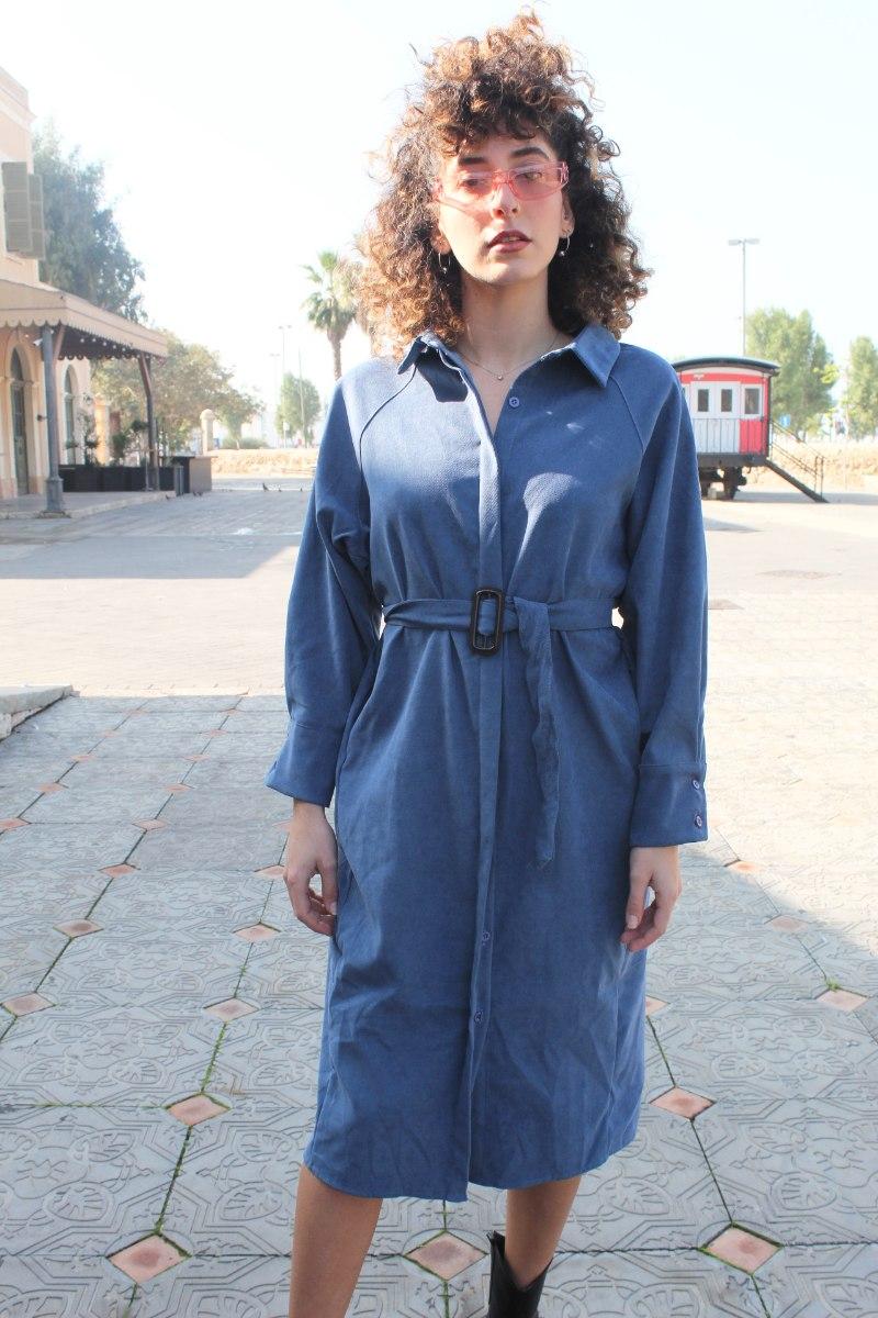 שמלה מכופתרת קורדרוי כחולה