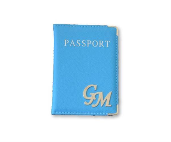 כיסוי לדרכון דמוי עור תכלת וכסף