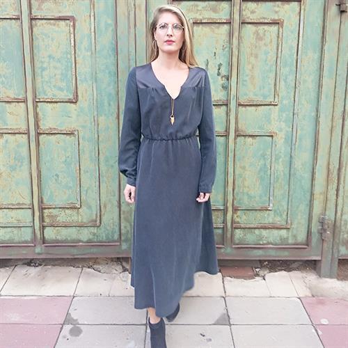 שמלת שרה מידי שחור/אפור