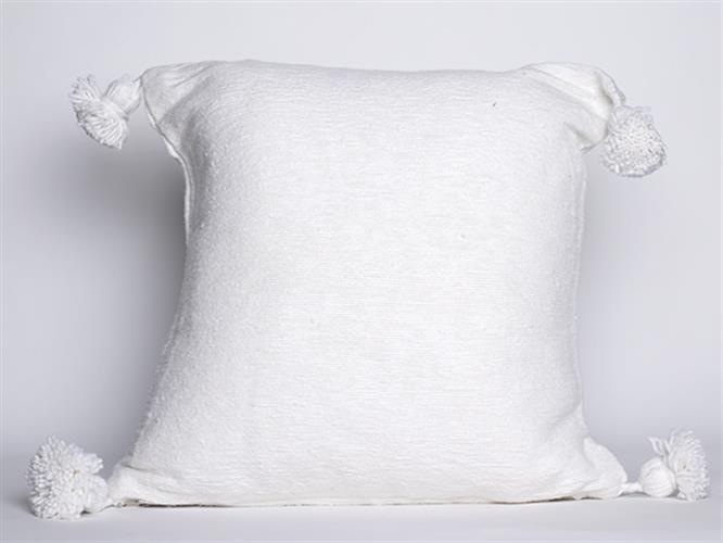 כרית פונפונים לבנה