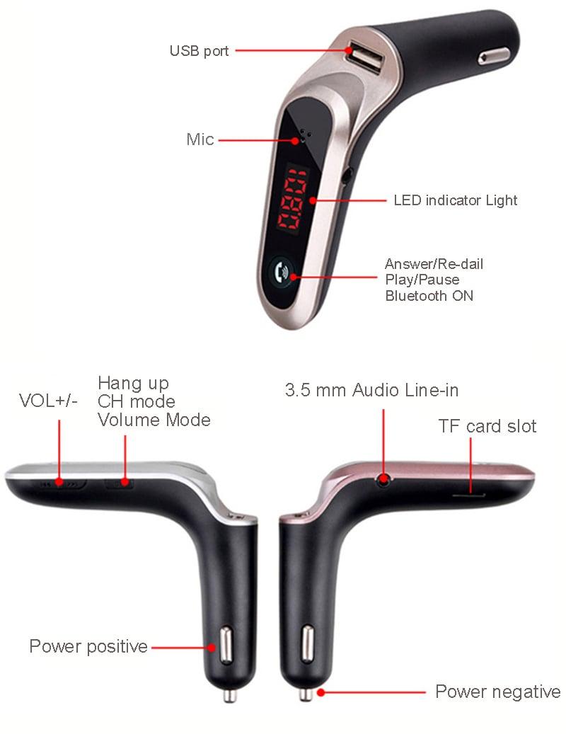 משדר fm לרכב דגם G7+ המשודרג לשמיעת מוזיקה+דיבורית+הטענת נייד לרכב