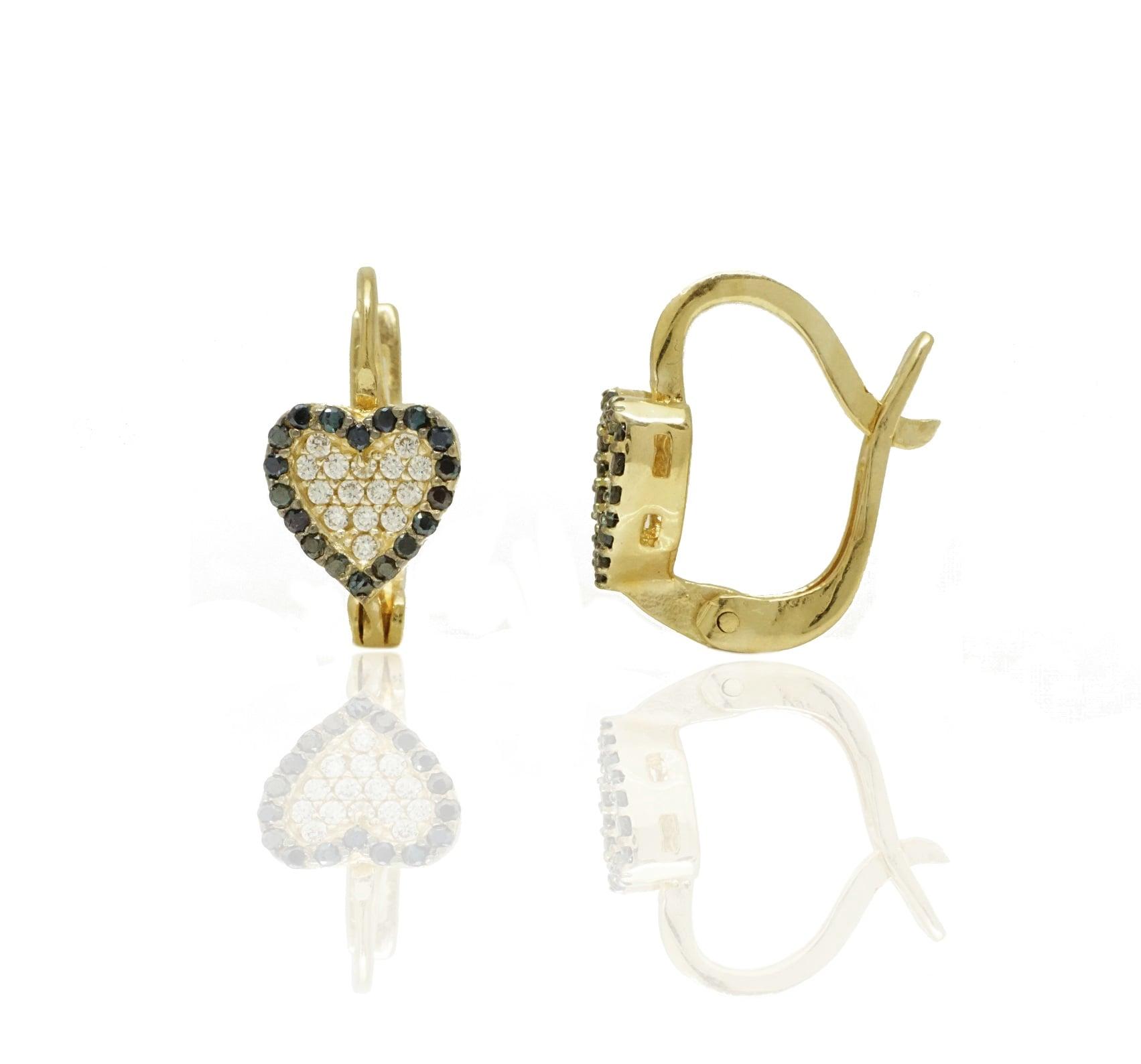 עגילי זהב לב משובצים זרקונים שחורים ולבנים מזהב 14 קרט