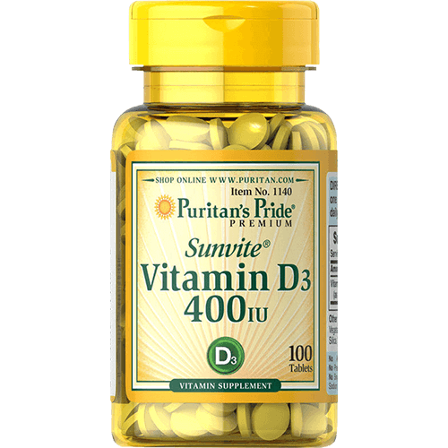 -- ויטמין D-400  --  מכיל 100 טבליות  |  400 יחבל  Puritan's Pride