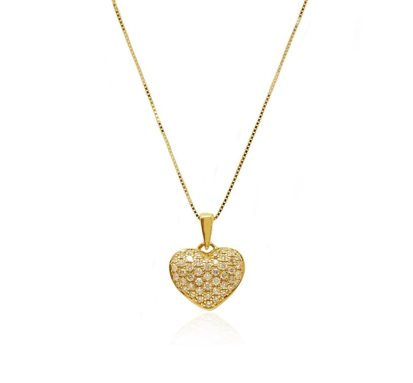 תליון לב יהלומים שרשרת עם יהלומים 0.45 קראט