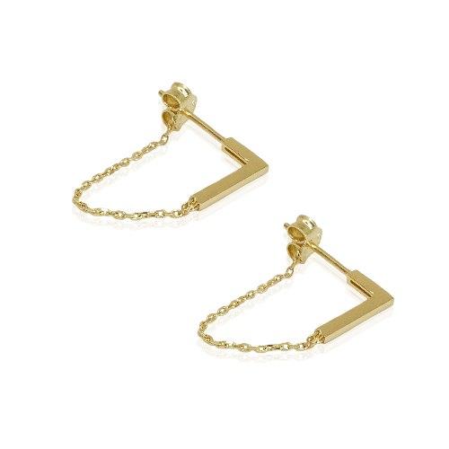 זוג עגילי זהב בר עם שרשרת