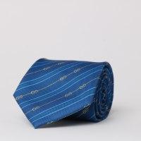 עניבה מודפסת פסים /שרשראות כחולה