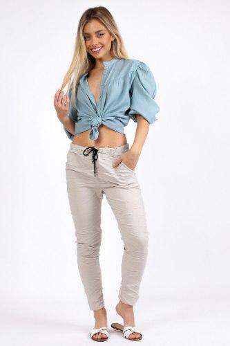 מכנס קפרי כותנה בז/אפור