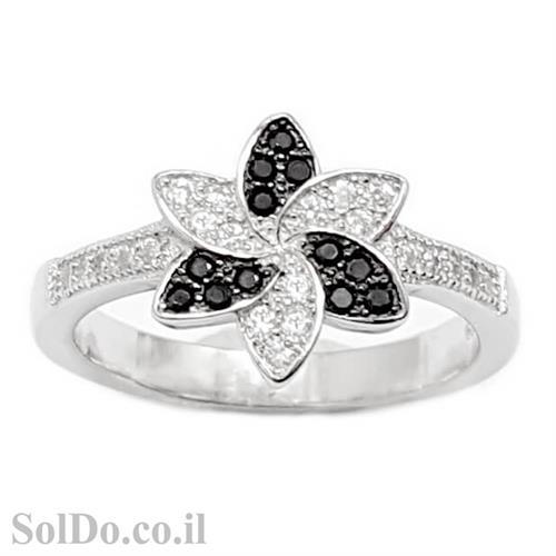 טבעת מכסף משובצת אבני זרקון שחורות ולבנות RG6029 | תכשיטי כסף | טבעות כסף