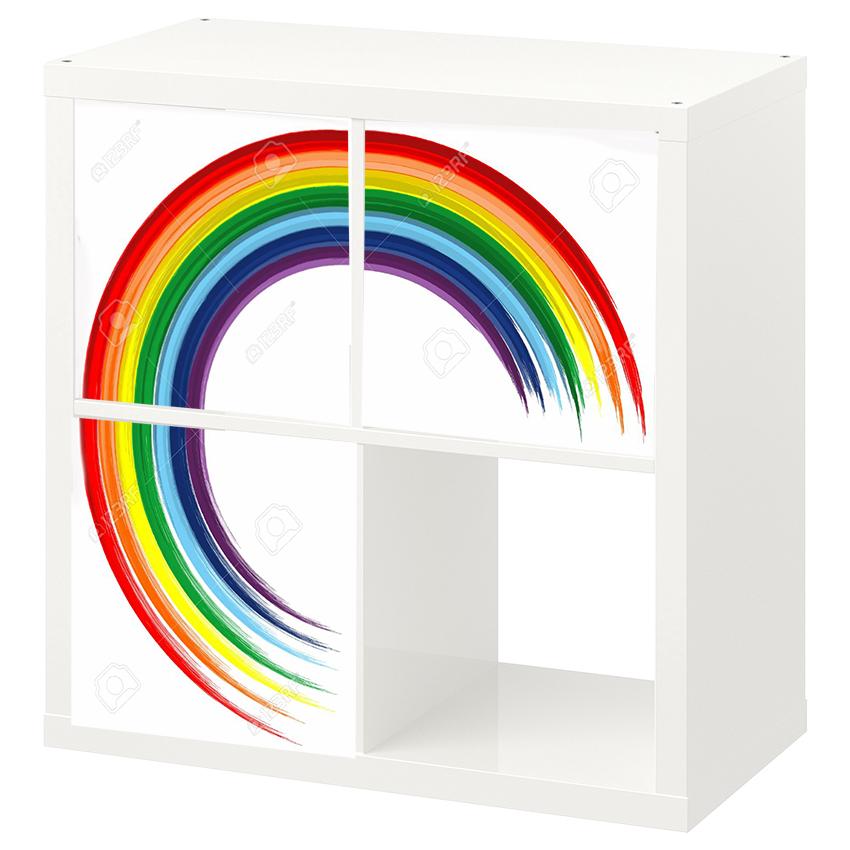 3 יח' טפט להדבקה על דלת כוורת (KALLAX)- עיגול צבעוני 3/4