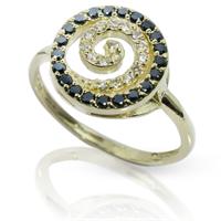 טבעת יהלומים 'ספירלה' שחור לבן בזהב 14 קרט