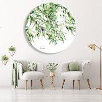 תמונה של עץ זית צבעי מים - ציור עגול