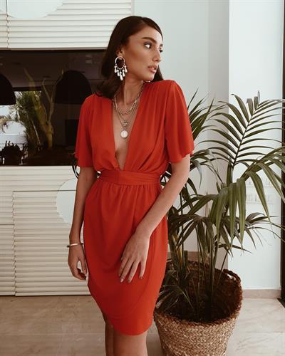 שמלת שילה מעטפת - אדומה