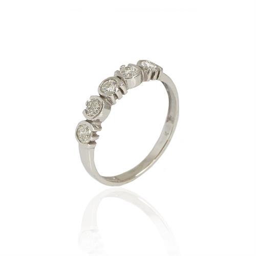 טבעת יהלומים │ טבעת חמש יהלומים │ טבעת זהב משובצת יהלומים 0.55 קראט