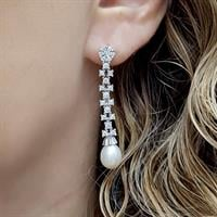 עגילי כסף מעוצבים משובצים פנינה לבנה וזרקונים A7122   תכשיטי כסף 925   תכשיטים לחתונה
