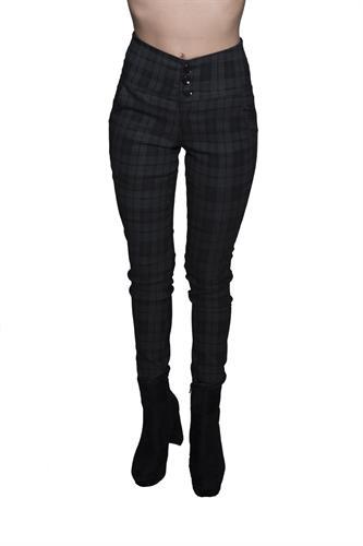 מכנס אלגנט עם חגורה רחבה ו3 כפתורים במשבצת