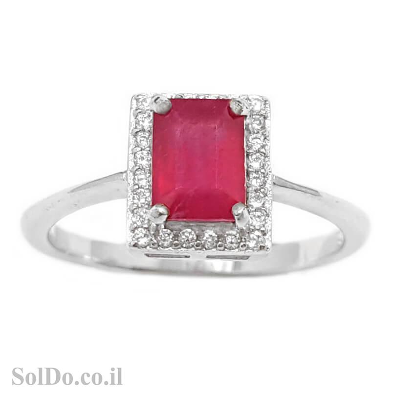 טבעת מכסף משובצת אבן רובי אדומה ואבני זרקון קטנות  RG6009 | תכשיטי כסף 925 | טבעות כסף