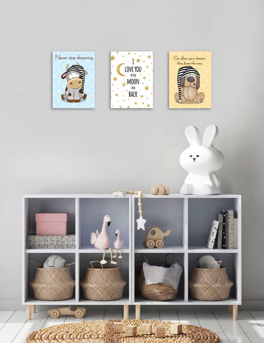 סט 3 תמונות חיות לחדר תינוקות ילדים דגם 044