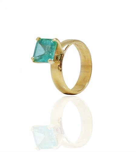 טבעת זהב 14 קרט קלאסית עם אמרלד 2.50 קראט