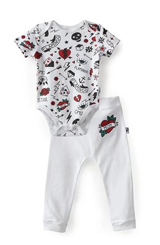 מארז בגד גוף ומכנסיים FLAMINGO לבן