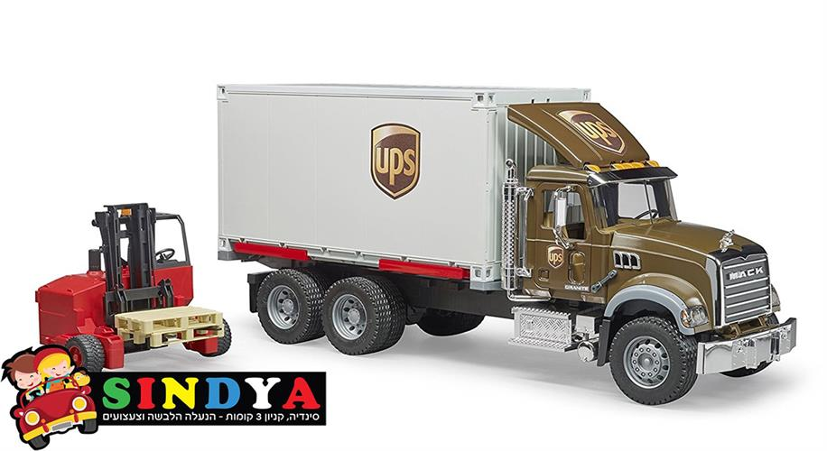 משאית UPS + מלגזה MACK  028282– BRUDER