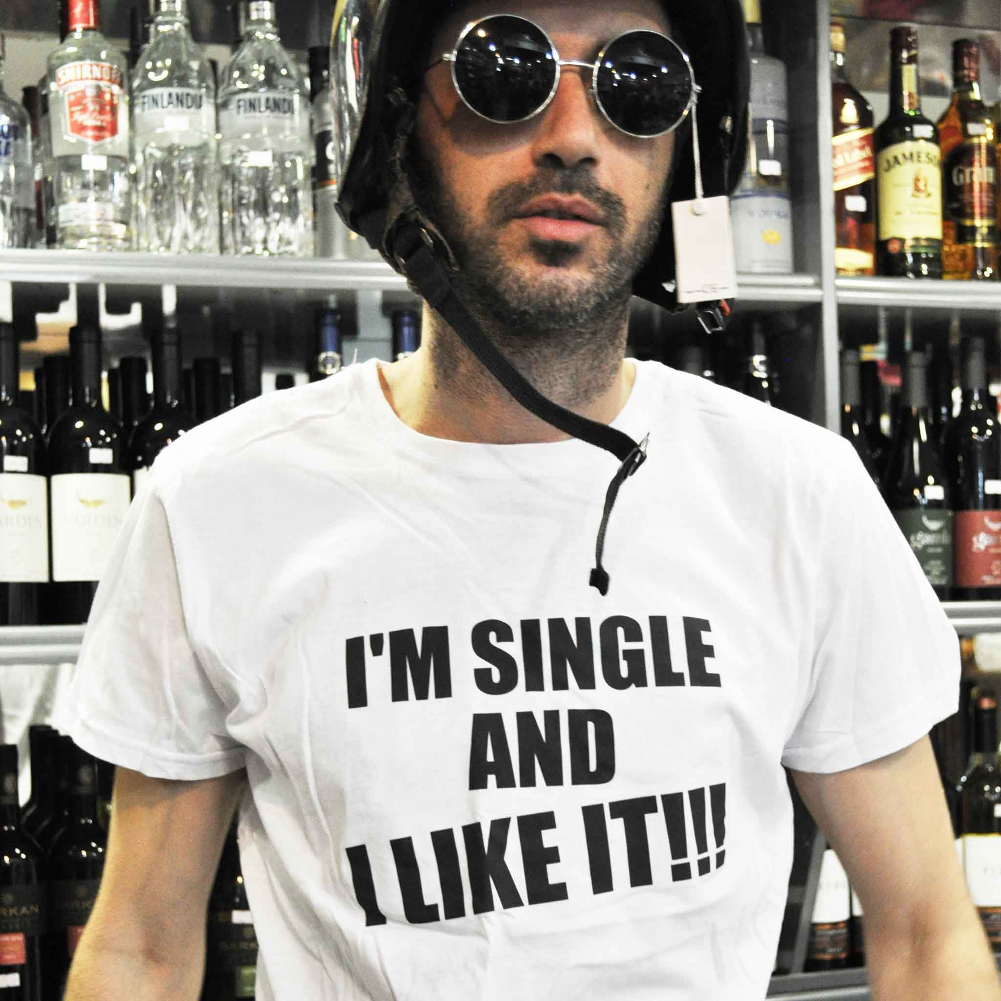 חולצת טי שירט יוניסקס I'm single and i like it!