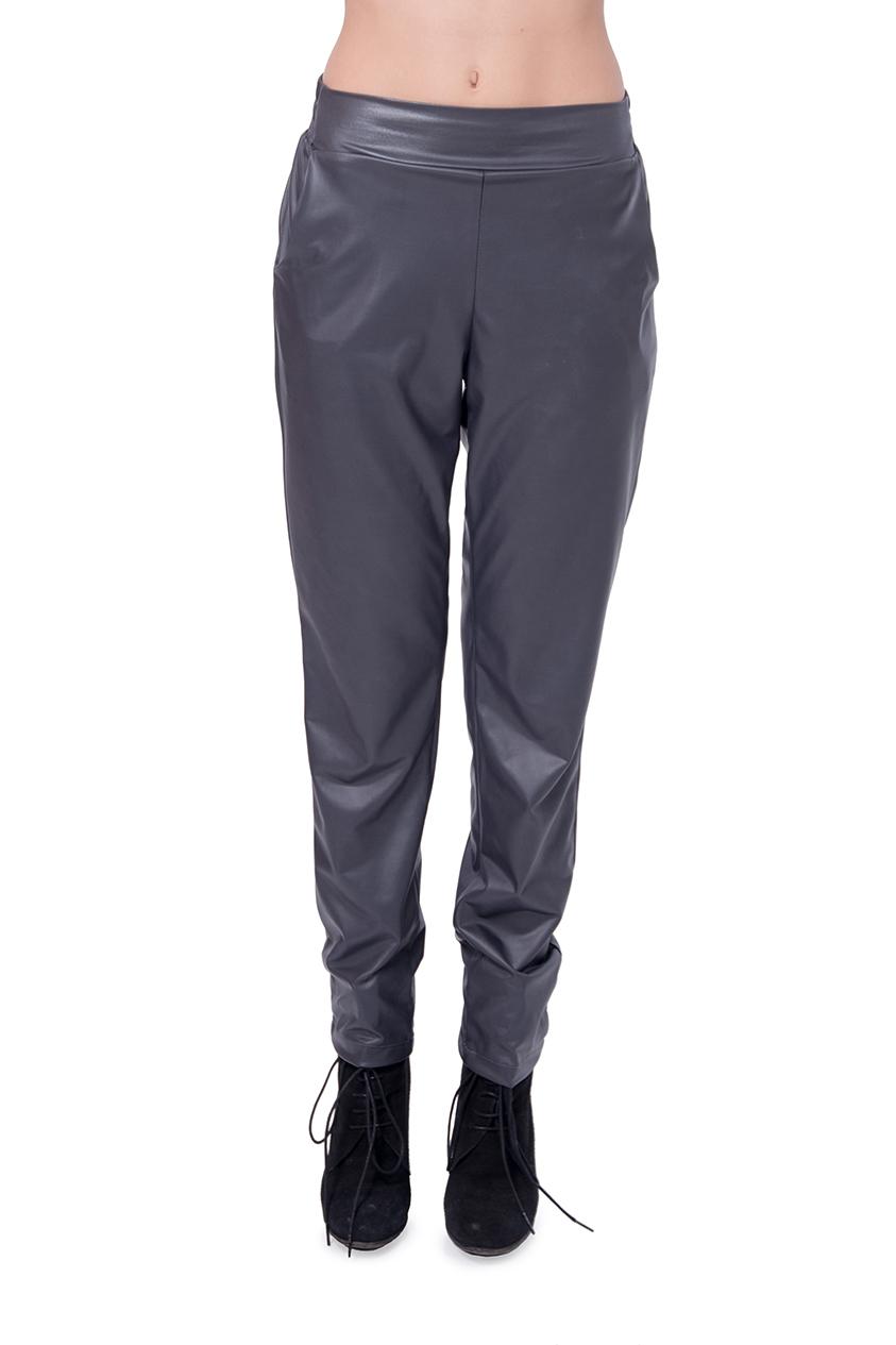 מכנס דמוי עור עם גומי בצבע אפור