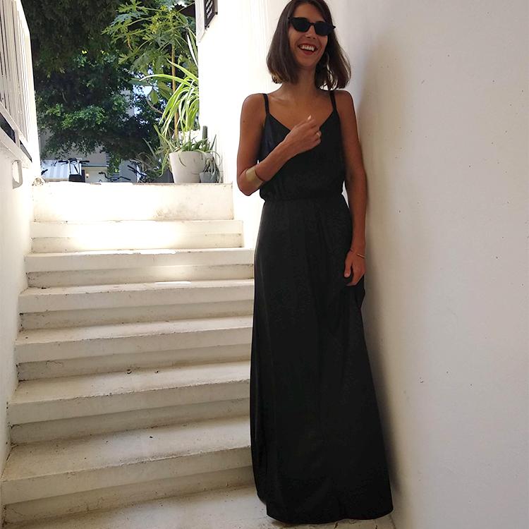 שמלת אדל דמויי עור שחור