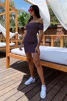שמלת פסים אליאנה קשירה בגב
