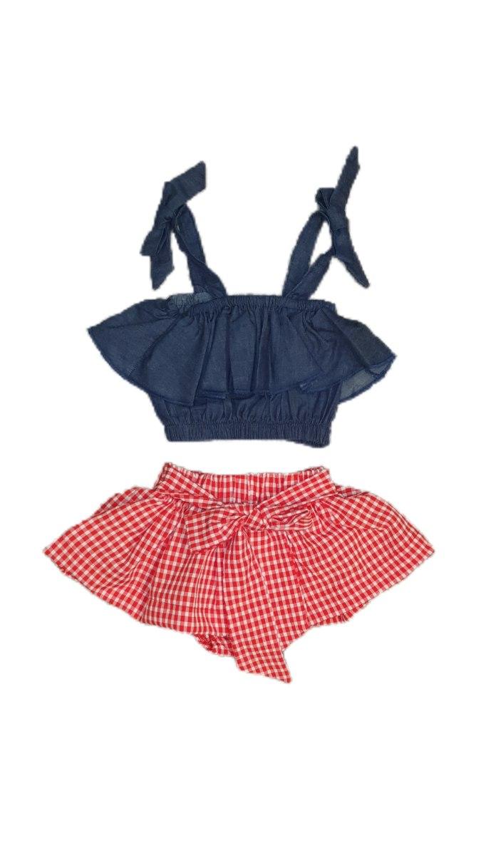 חליפת חצאית אדומה בשילוב טופ גינס 6m-4y