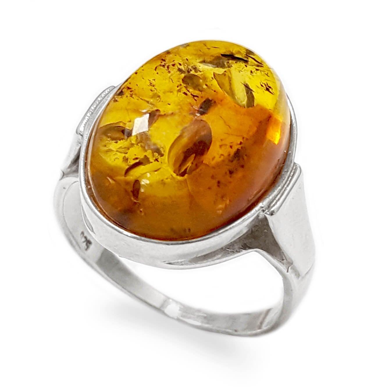 טבעת מכסף בשיבוץ ענבר צבע קוניאק RG5987