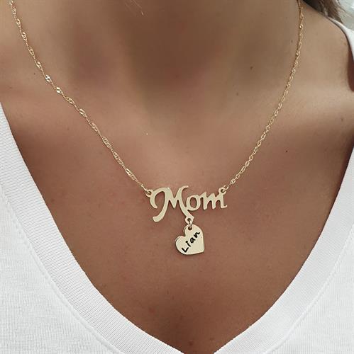 שרשרת MOM עם תליון לב חרוט