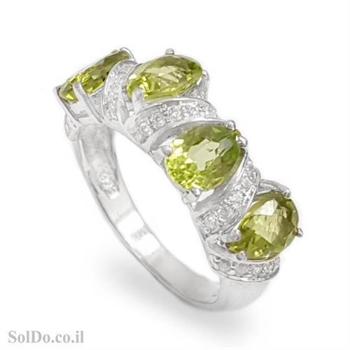 טבעת מכסף משובצת אבני פרידוט וזרקונים RG8738 | תכשיטי כסף 925 | טבעות כסף