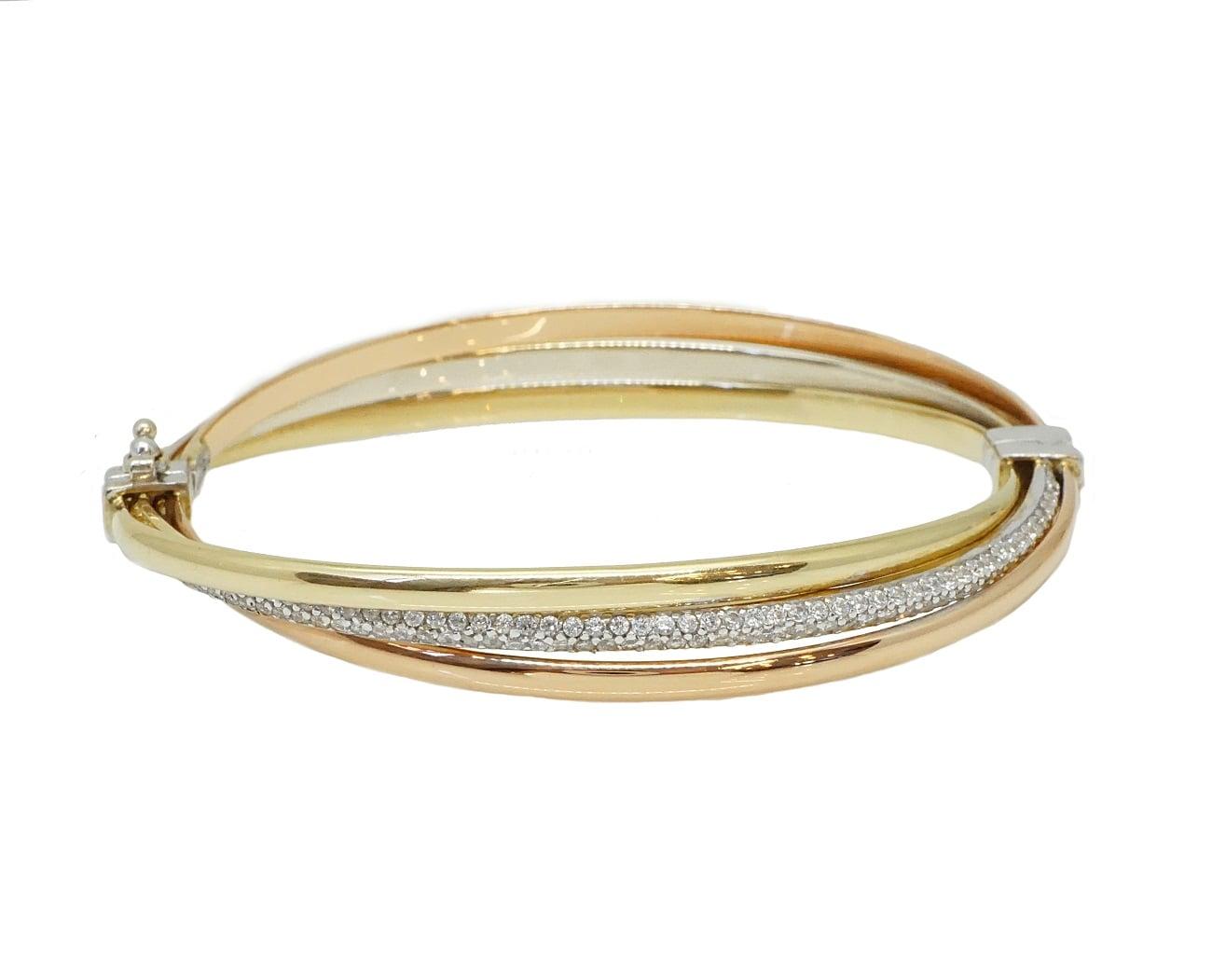 צמיד זהב שלושה צבעים צמיד בנגל זהב קשיח שלושה צבעים